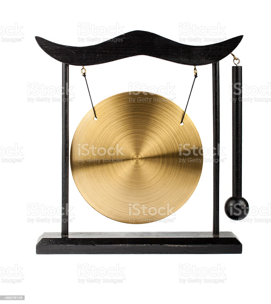 Decorative bronze gong stock photo