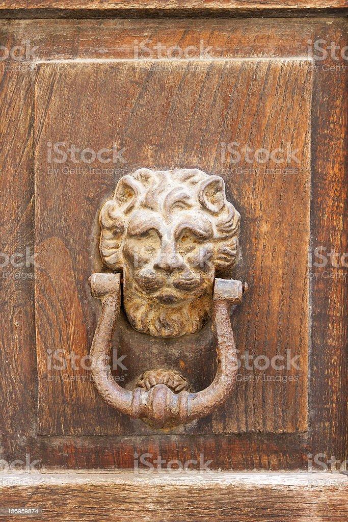 Decorative bronze lion head door knob royalty-free stock photo