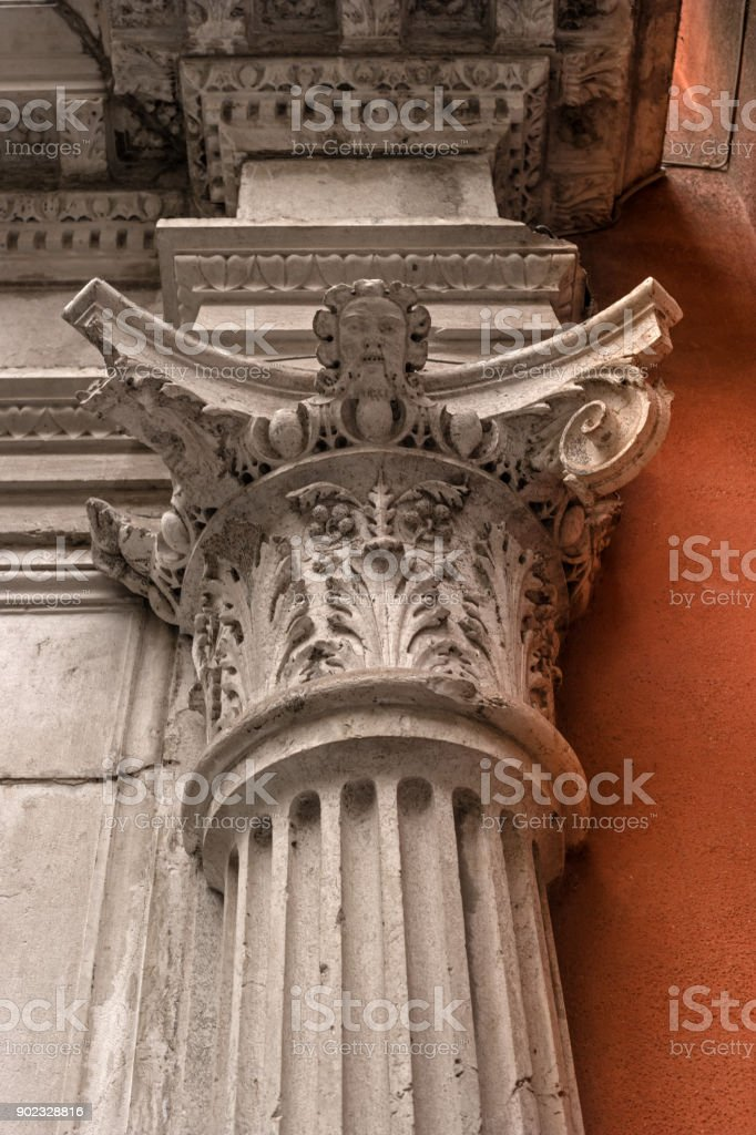 Decorative capital of column. stock photo
