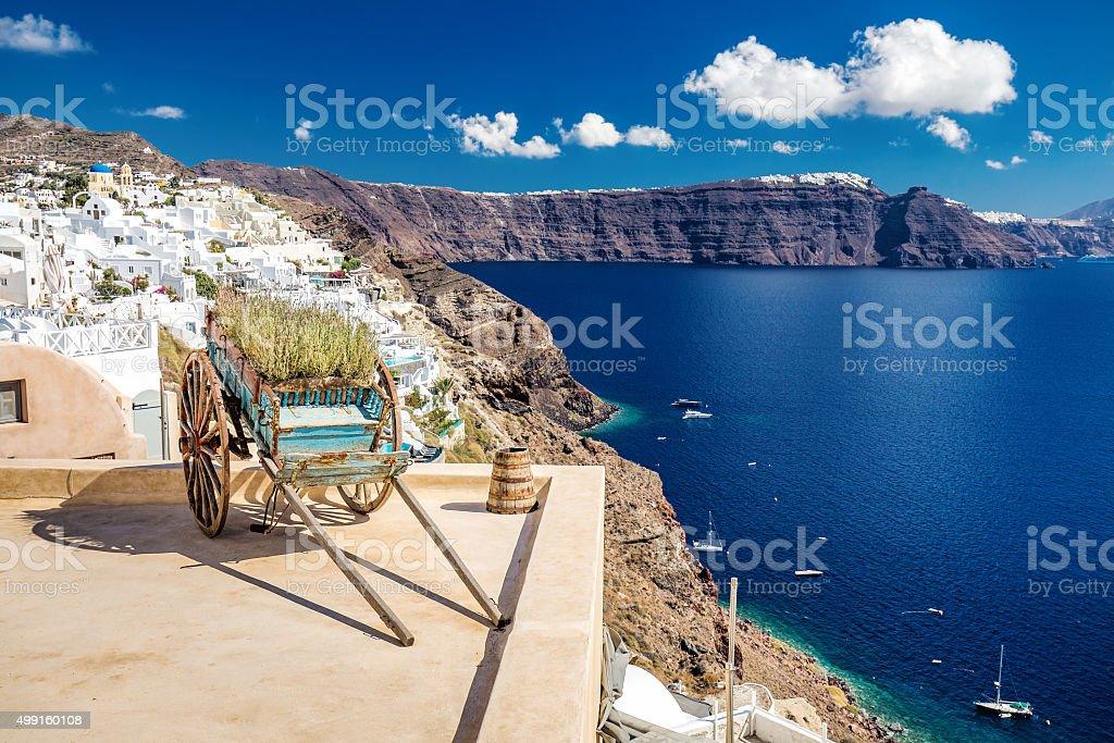 Decorative cart Santorini stock photo