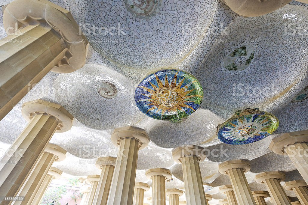 decorative ceiling in Parc Guell, Barcelona royalty-free stock photo
