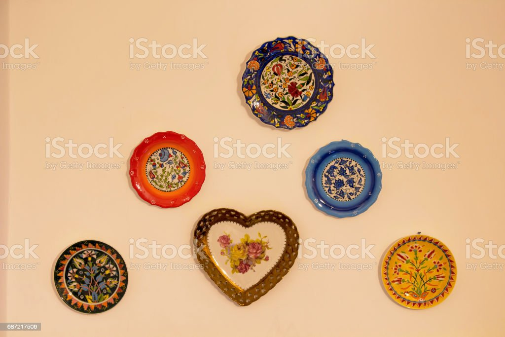 Decorative Ceramic Plates On Beige Wall Traditional Turkish Ottoman ...