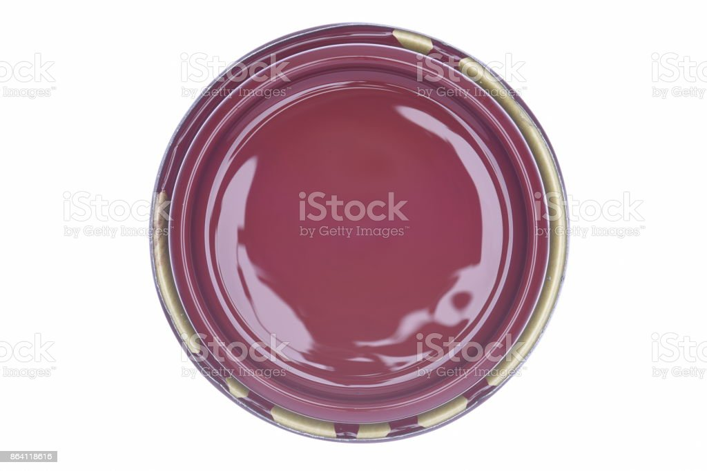 Decorative cherry red paint can lid isolated on white background royalty-free stock photo