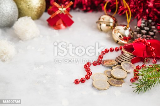 istock Decorative Christmas accessories and red Santa Claus sack with euro coins. Mock up for money gift and seasonal offers as advertising or other ideas. Empty place for a text. 866909786