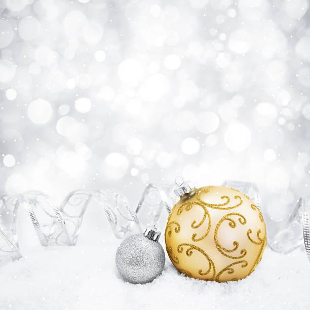 decorative christmas background with bokeh lights and snowflakes - blue yellow band bildbanksfoton och bilder