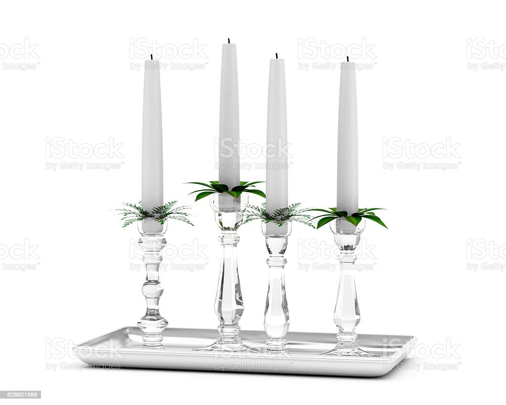 Decorative Christmas Candlestick Holders With White Candles Stock Photo Download Image Now Istock