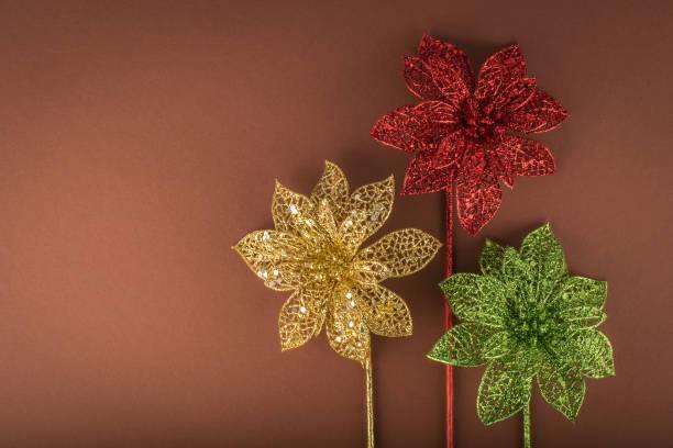 dekorative weihnachten blume - rot, grün, gold - weihnachtssterne aus papier stock-fotos und bilder