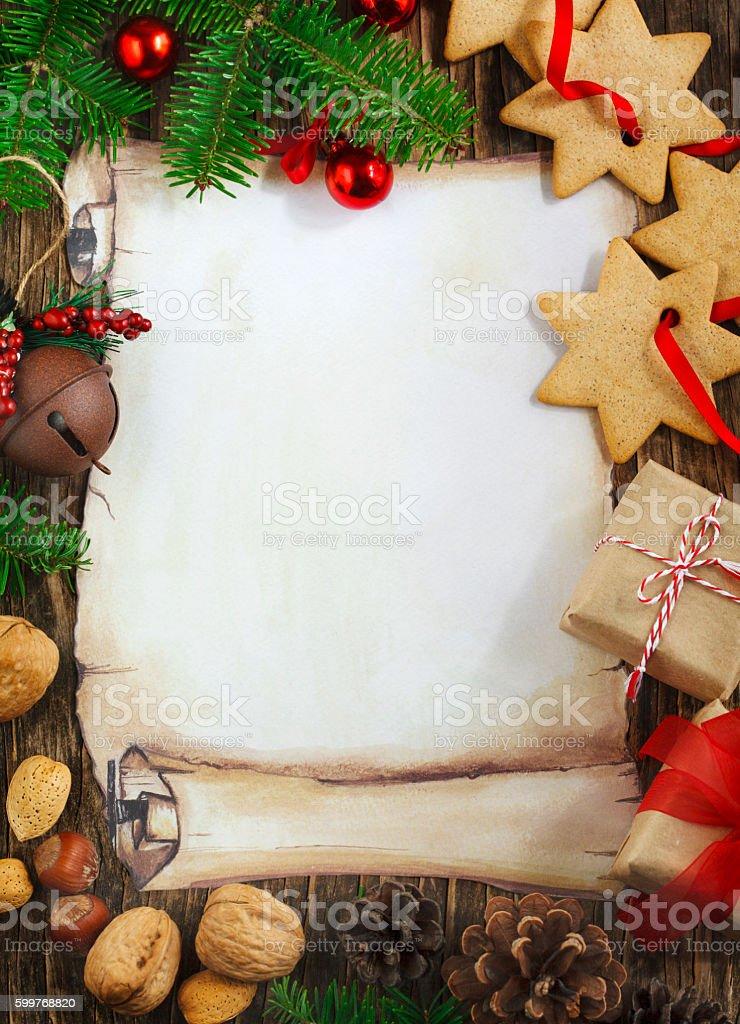 Decorative christmas frame background stock photo