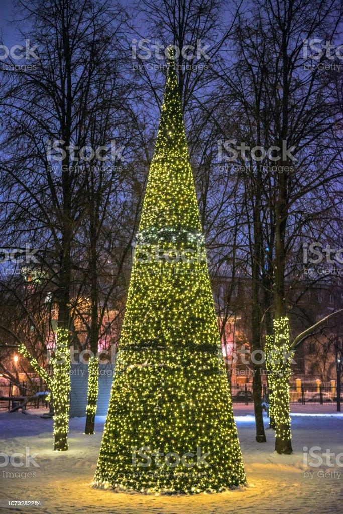 Decorative christmas tree on street stock photo