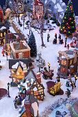 Brummen, Netherlands - December 25, 2010: Decorative christmas village with Charles Dickens theme. The houses and figurine are made by Department56 and Lemax. Two companies specialised in christmas decorations.