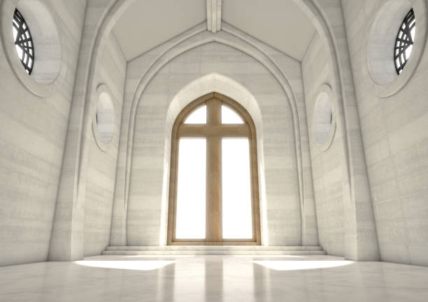 Decorative Church Window An empty grand church interior lit by suns rays through a stained glass window depicting the nativity scene - 3D render place of worship stock pictures, royalty-free photos & images