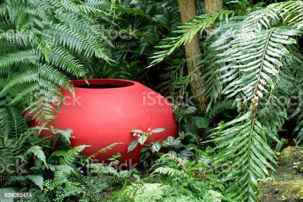 Decorative clay pot in garden.Decoration clay jar in the garden