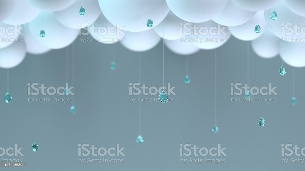 Decorative clouds and raindrops stock photo