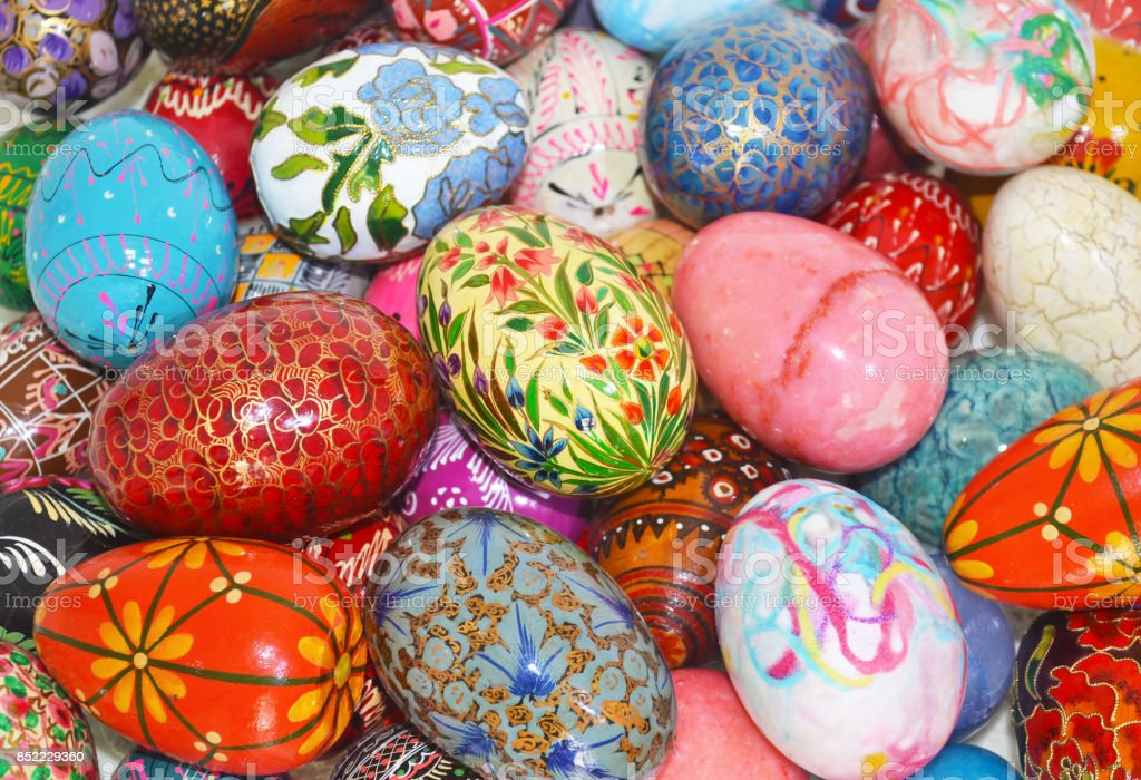 decorative colorful Easter eggs stock photo