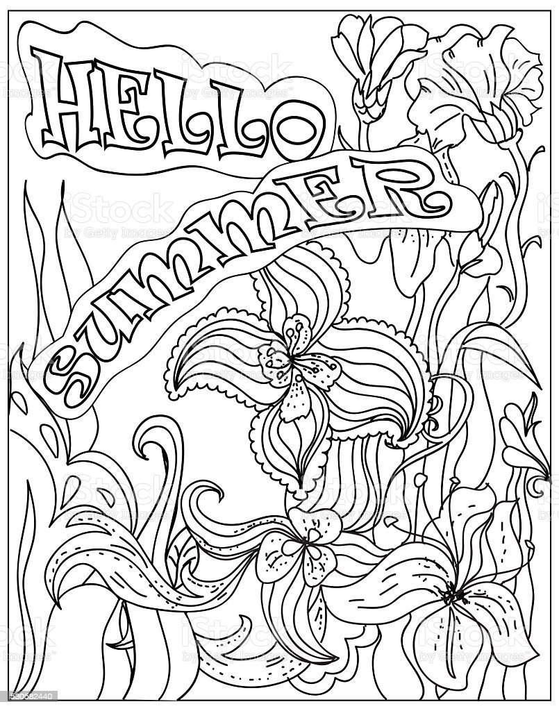 Decorative Coloring poster hello summer  black on white stock photo