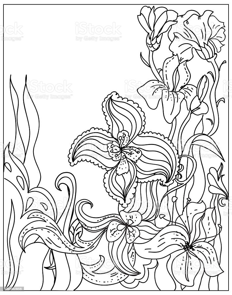 Decorative Coloring summer floral template black on white stock photo