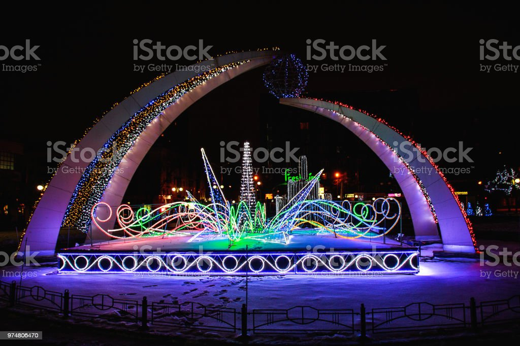 decorative composition of colored LED lights on the street of night...
