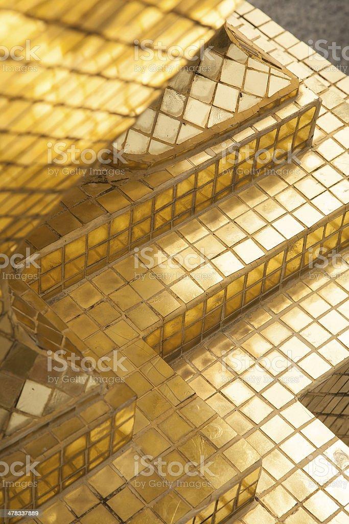 Decorative detail of golden pagoda in Wat phra keaw royalty-free stock photo