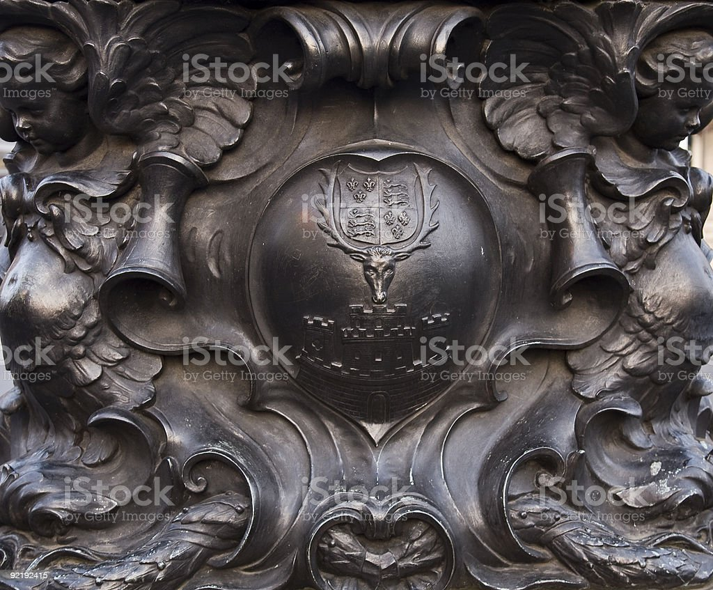 Decorative detail of Queen victoria sculpture royalty-free stock photo