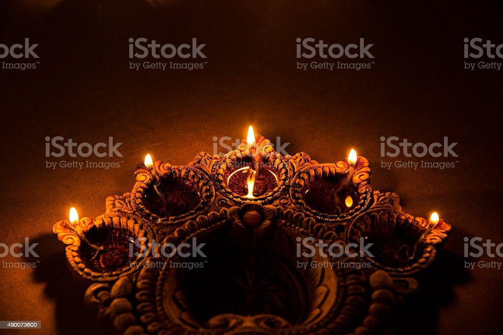 decorative diwali diya, selective focus stock photo