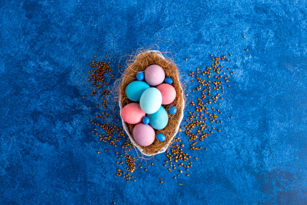 Decorative easter eggs in nest dark blue background holiday easter picture id1215092953?b=1&k=6&m=1215092953&s=612x612&w=0&h=5ijtdyqxhpwh5rnnlb9zheawjggg2zyig4b21dukg s=
