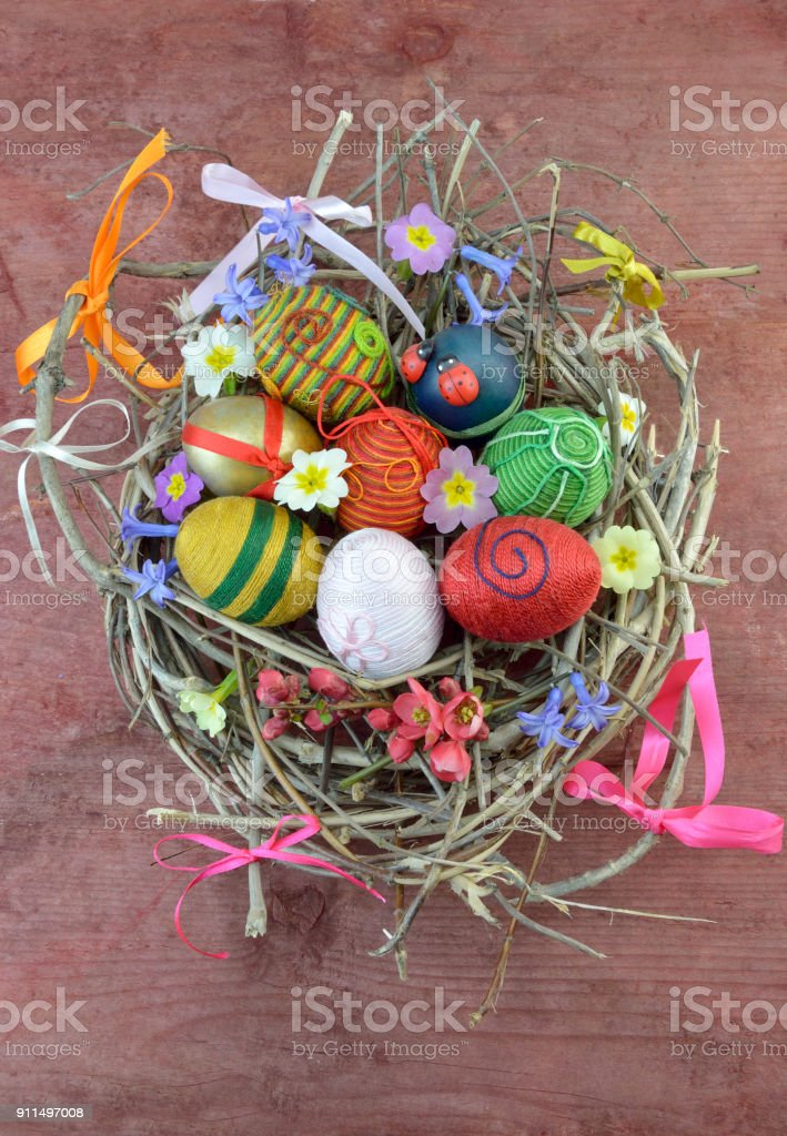 Decorative Easter eggs stock photo