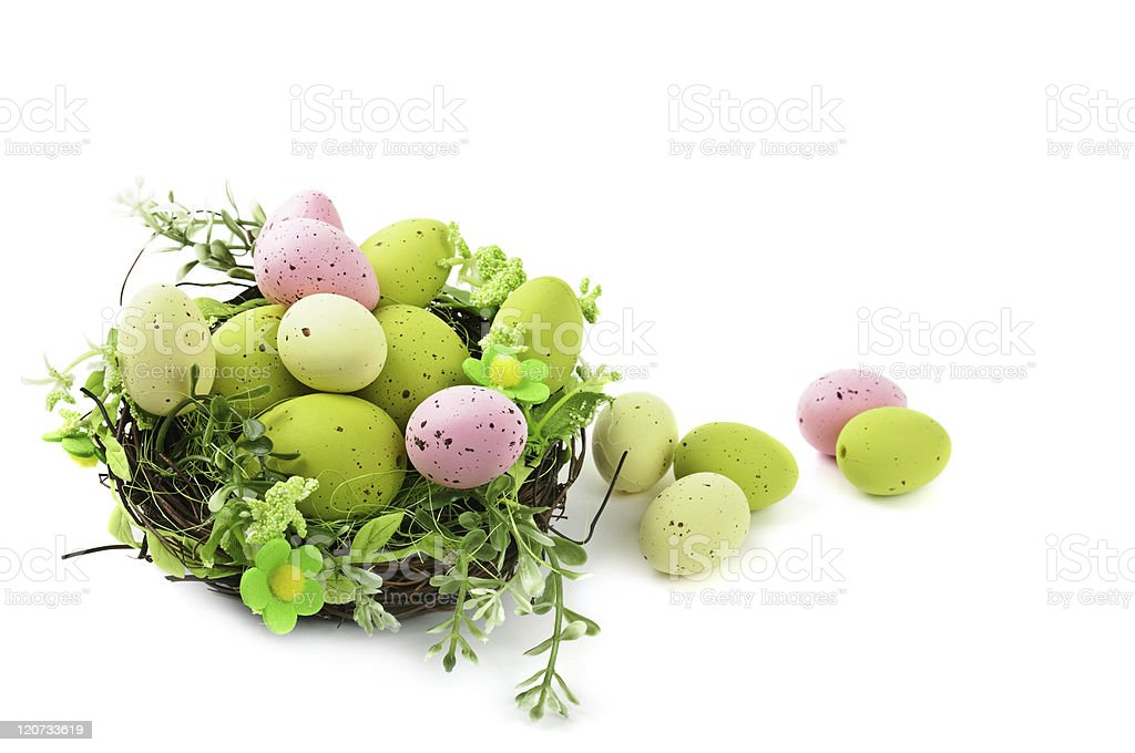 decorative easter nest with eggs royalty-free stock photo