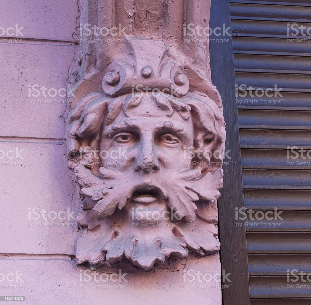 Decorative element, men's head deity royalty-free stock photo