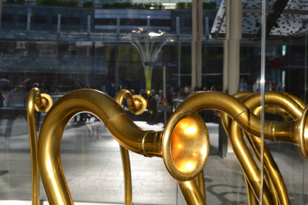 Decorative elements of the entrance to the Gae Aulenti square in Milan, Italy. stock photo