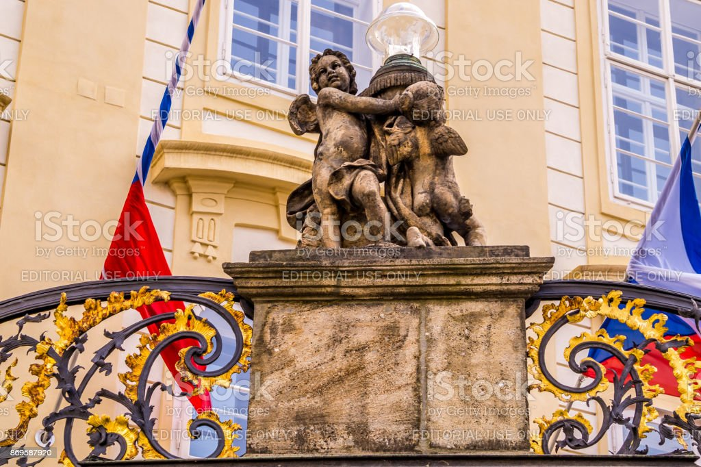 Decorative elements of the facade of a government building in Prague, Czech Republic stock photo