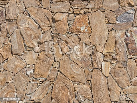 A decorative exterior wall with rough stonework lined in chaotic manner. Background texture