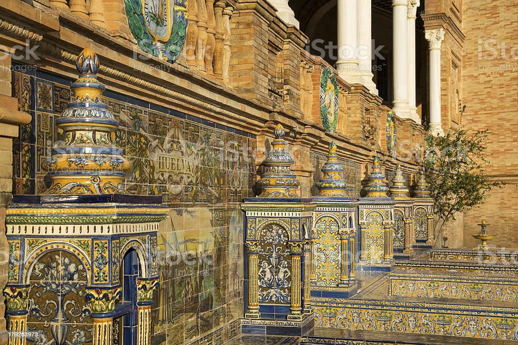 Decorative Feature At The Palaza de Espana Sevilla royalty-free stock photo