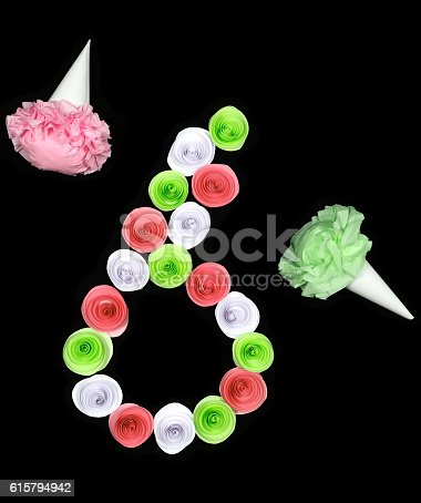 istock Decorative figure of six lined paper flowers 615794942