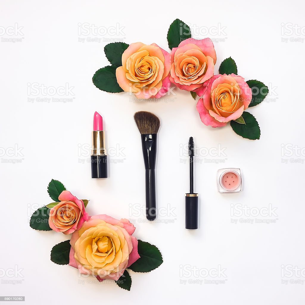 Decorative flat lay composition with woman cosmetics and rose...