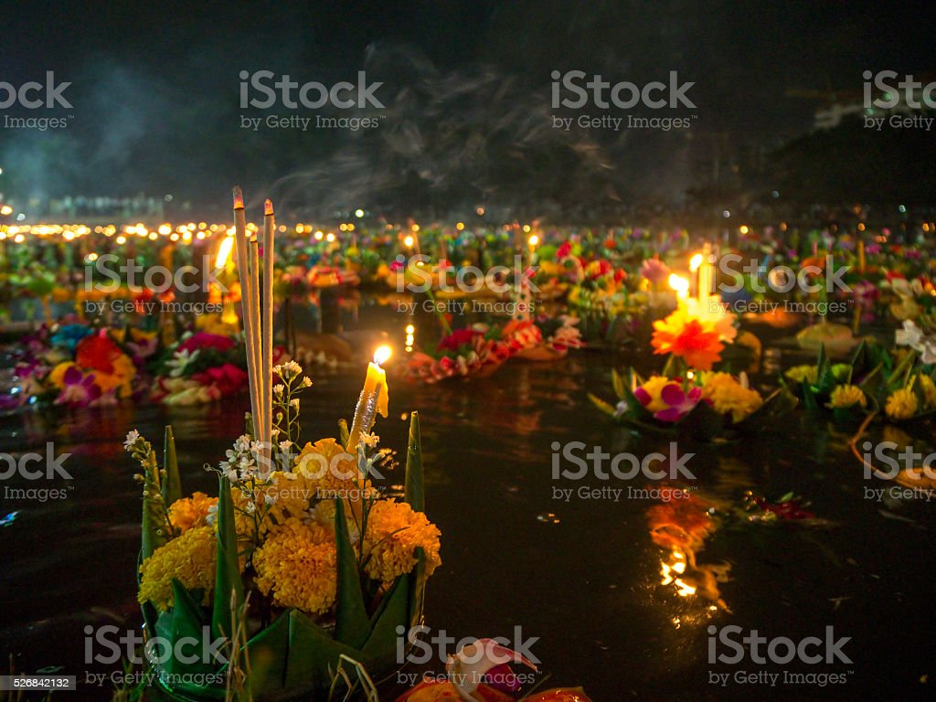 Decorative floats close-up on Loy Krathong stock photo