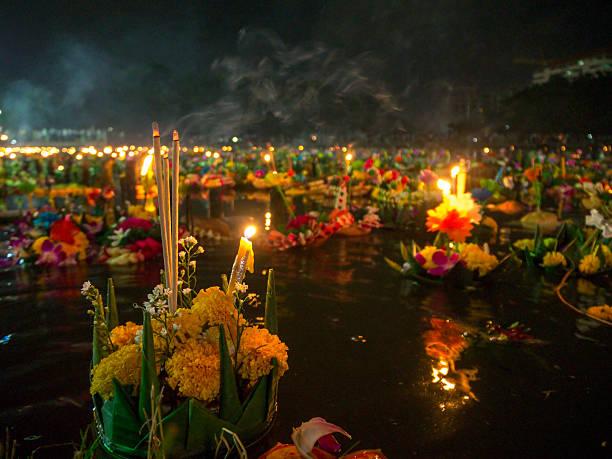 Decorative floats close-up on Loy Krathong stock photo