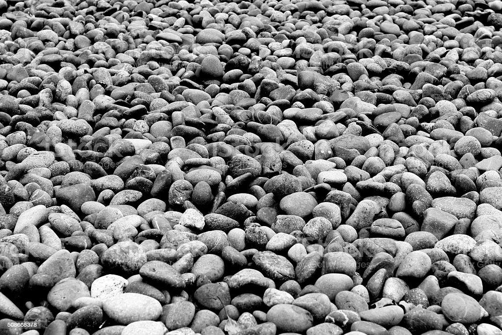 Decorative floor pattern of a gravel stone B&W stock photo