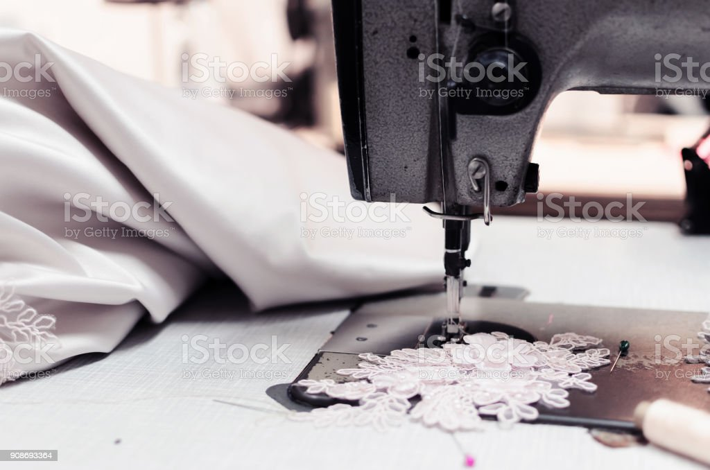decorative flower and sowing machine stock photo