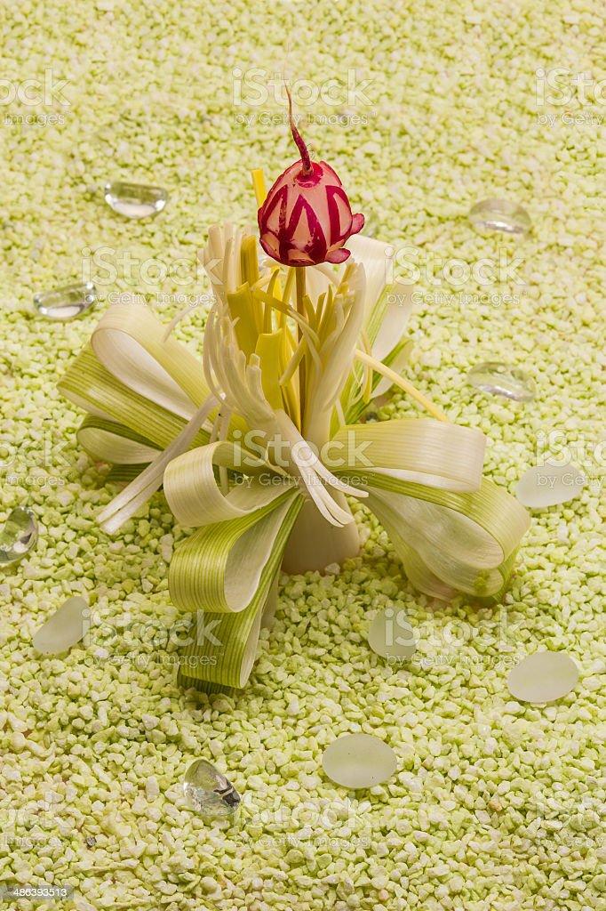 Decorative flower of leeks and radishes stock photo