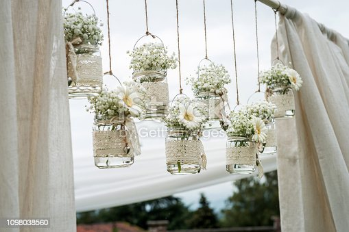 Hanging wedding flowers, vintage decoration for ceremonies and parties