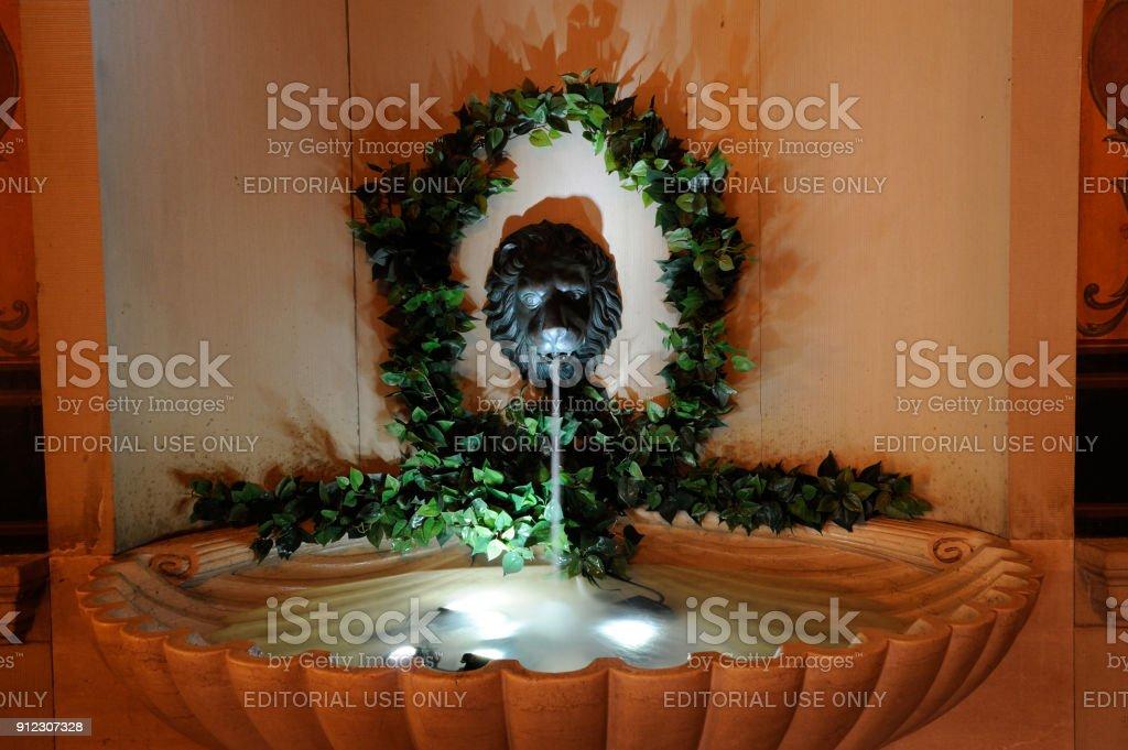 Decorative Fountain Inside Boston Public Library Royalty Free Stock Photo