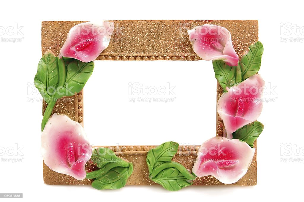 Decorative frame for a photo, decorated with flowers royalty-free stock photo