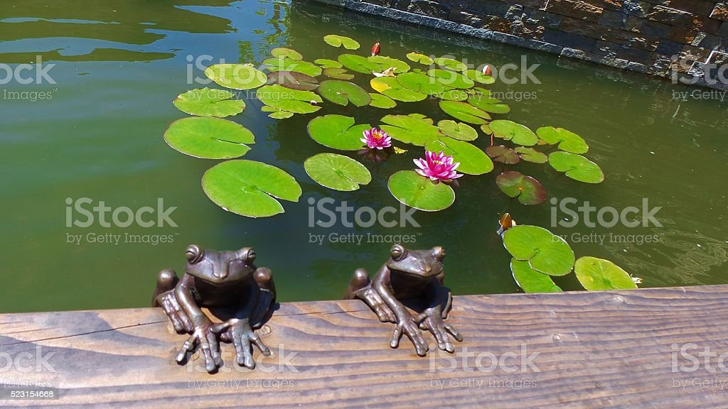 Decorative Frogs on a Lotus Flower Fountain stock photo