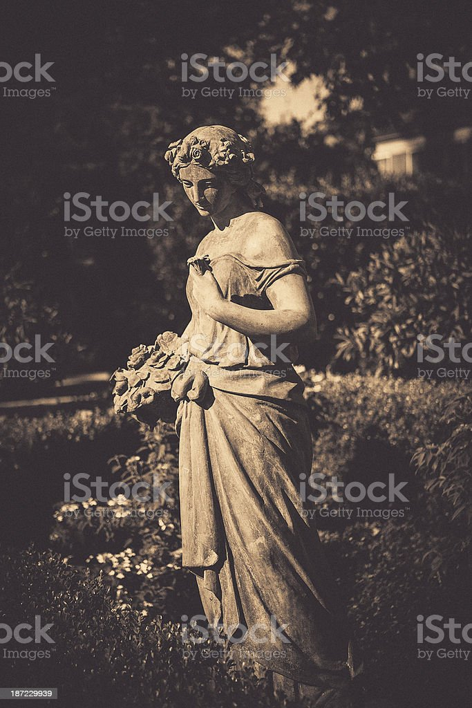 decorative garden statue stock photo
