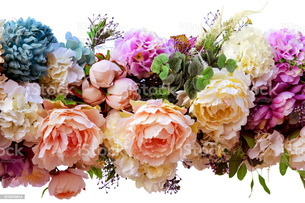 Decorative garland of artificial flowers - roses and hydrangeas. Isolated, white background. stock photo