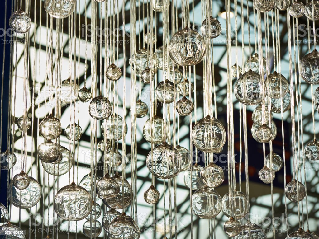 Decorative glass balls on ropes stock photo