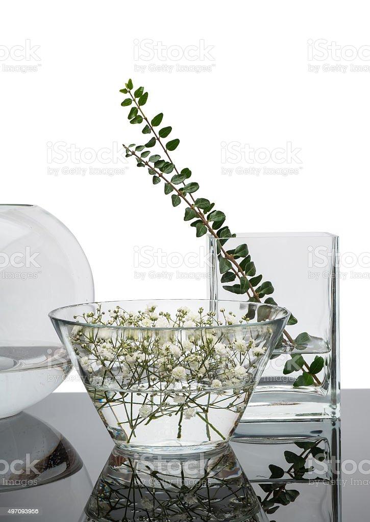 Decorative Glass Vases On Black Mirror Table Stock Photo Download Image Now Istock
