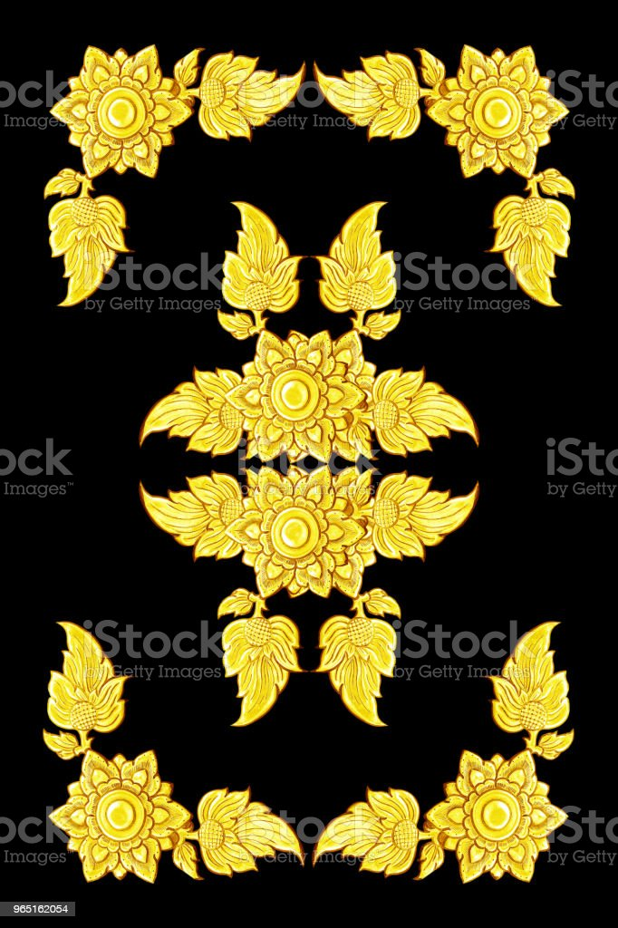 decorative gold frame isolated on black  background royalty-free stock photo