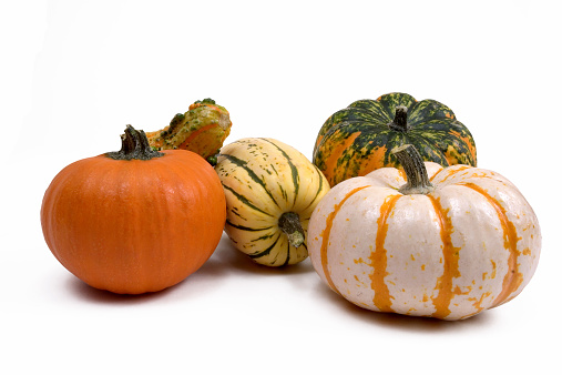 A display of fall decorations