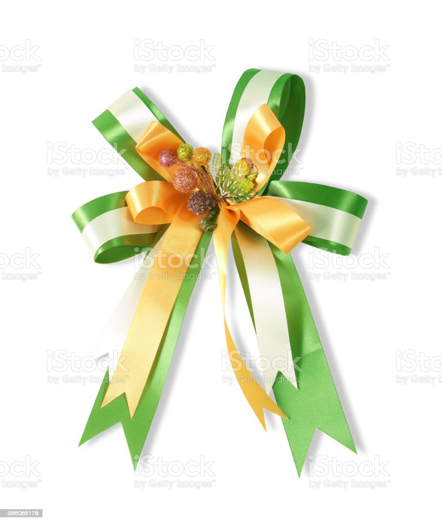 Decorative green & yellow color ribbon bow on white background - Royalty-free Amarelo Foto de stock